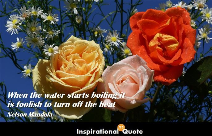 Nelson Mandela – When the water starts boiling it is foolish to turn off the heat